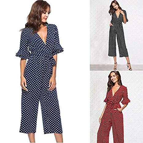 cff23201bb7 Amazon.com  REFURBISHHOUSE Autumn Women Polka Dot Jumpsuit V Neck Sexy  Jumpsuit Tiered Flare Sleeve Polka Dot Jumpsuit Ladies Elegant Jumpsuit  Dark Blue M  ...