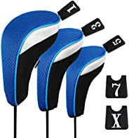 Andux 3pcs/Set Golf 460cc Driver Wood Head Covers with Long Neck and Interchangeable No. Tags