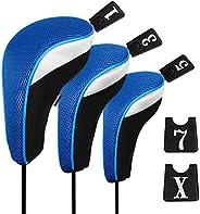 Andux Golf Wood Driver Head Covers Interchangeable No. Tag 3pcs/Set