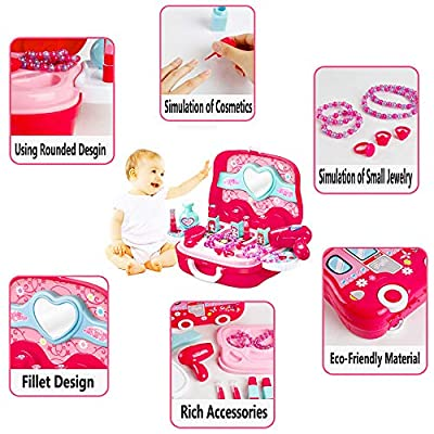 Candice's Sweety Little Girls Pretend Makeup Kit Cosmetic Pretend Play Set Kids Beauty Salon Makeup Set Toy for Children Best Gift Set with Mirror: Toys & Games