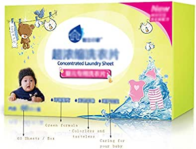FKZL (1 caja=60 hojas) Detergente para ropa de viaje, detergente ...