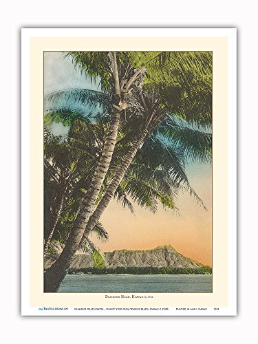Pacifica Island Art Diamond Head Crater - Sunset View from Waikiki Beach, Hawaii - Vintage Hawaiian Color Postcard c.1920s - Master Art Print - 9in x - Hawaiian Vintage Art Beach