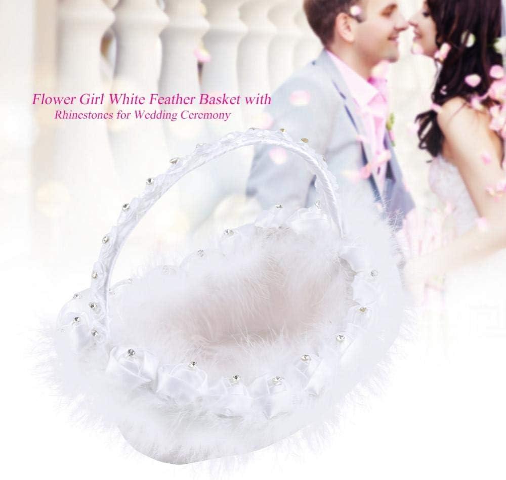 Wei/ße Hochzeit Blumenkorb Blumenm/ädchen Wei/ße Feder Korb mit Strass f/ür romantische Hochzeit Zeremonie Dekoration