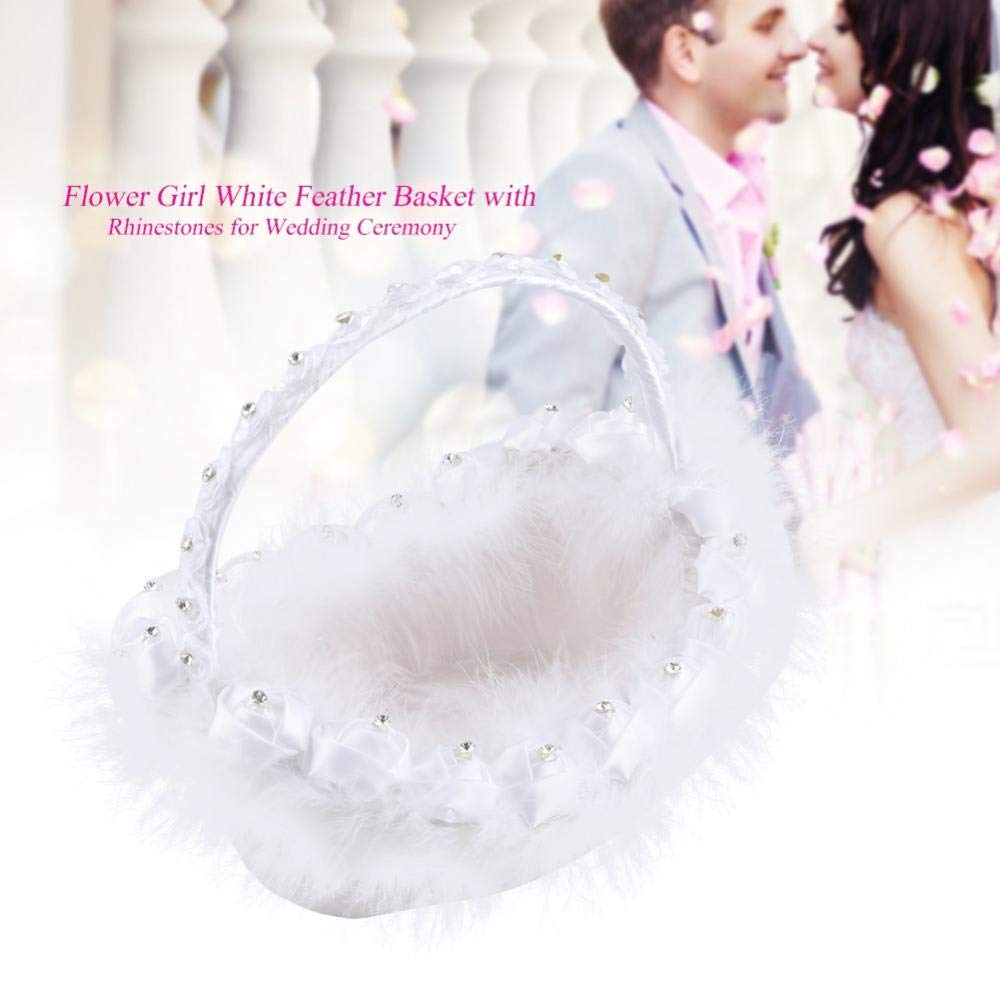 Wedding Flower Girl Basket with Rhinestones for Romantic Wedding Ceremony Party Decor