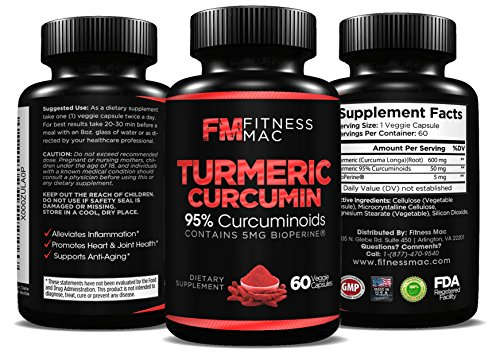 100 % pure curcumine curcuma avec Bioperine - anti-inflammatoire, Anti-Aging, formule antioxydante, 60 Safe et efficace Veggie comprimés - ebook gratuit comprend!
