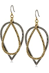 Lucky Brand Two Tone Pave Drop Earrings