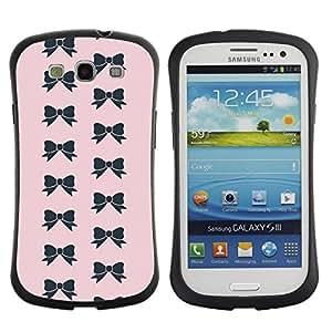 Suave TPU Caso Carcasa de Caucho Funda para Samsung Galaxy S3 I9300 / bow pink bowtie pattern black fashion / STRONG