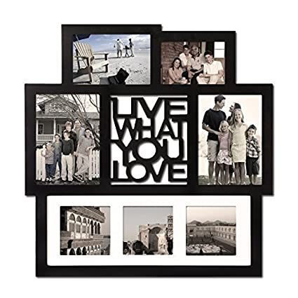 2fd02d02c60 Adeco 7 Openings Black Wood Wall Hanging Photo Frame Collage  quot Live  What You Love quot