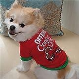 Sunward Christmas Pet Dog Cotton Costume Small Dog Cat Pet Clothing Pet Vest Puppy T Shirt Apparel (L, Red)