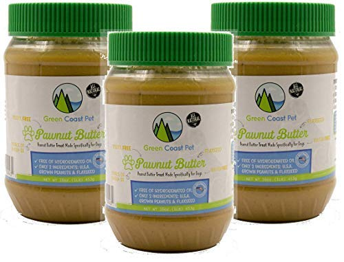 (Green Coast Pet 3 Pack of All Natural Pawnut Butter for Dogs, 16 Ounce Jars)