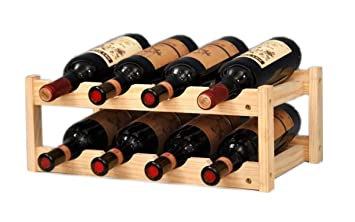 Amazoncom Riipoo 8 Bottle Wine Rack 2 Tier Nature Wooden Wine