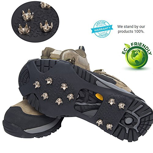 Traction Cleats for Walking, Jogging, or Hiking on Snow and Ice - 20 Metal Spikes Provide Stability Traction Grips Ice - Multi-function Anti-slip Traction (Middle)