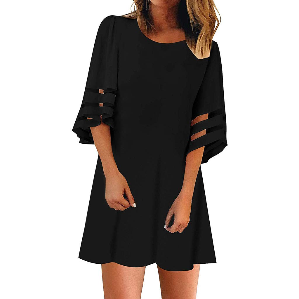 Opinionated Womens Summer Short Sleeve Round Neck Solid Color Mesh Dress Loose Casual T-Shirt Dress