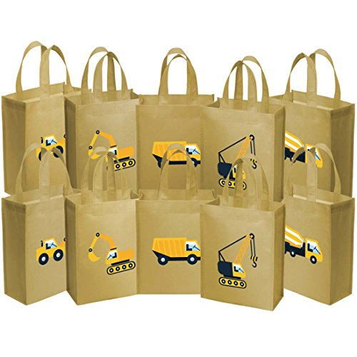 Truck Eco Excavator - Ava & Kings Fabric Tote Party Favor Goodie Gift Bags for Candy, Treats, Toys, Loot - Birthdays, Showers, Easter, Halloween, Lunch, Grocery - Set of 10 - Construction Work Theme