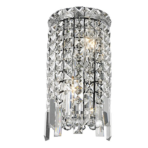 Worldwide Lighting W23610C6 Cascade 2 Light Rounded Crystal Wall Sconce, Chrome Finish and Clear Crystal, ADA Compliant, 6