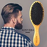 Boar Bristle Hair Brush By Sonvera 100 Natural Boar Bristles Oval Bamboo Wooden Handle Best Used For Thin Normal Straight Short Long Fine Dry Damaged Hair For Women Men