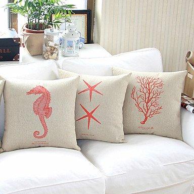 【Bailand】 set of 4 Sea Life Theme Cotton/linen Decorativ