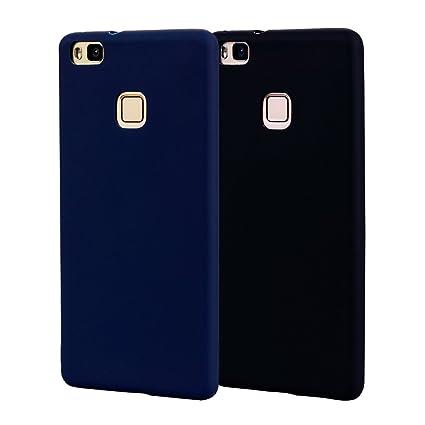 Funda HuaWei P9 Lite, Carcasa HuaWei P9 Lite Silicona Gel, OUJD Mate Case Ultra Delgado TPU Goma Flexible Cover para HuaWei P9 Lite - Negro + Azul