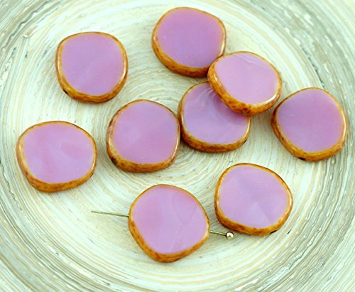 4pcs Picasso Opaque Silky Pink Large Flat Round 8Edge Window Table Cut Coin Czech Glass Beads 15mm