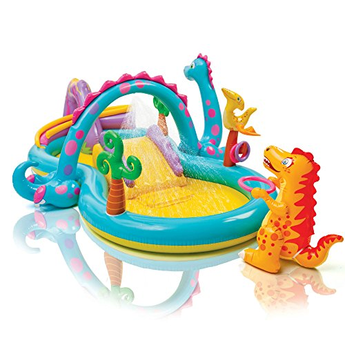 (Intex Dinoland Inflatable Play Center, 131in X 90in X 44in, for Ages 3+ )
