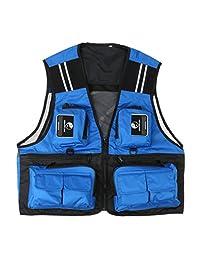Mens Fishing Vest Men Travel Waistcoat Photographer Jacket with Reflective Stripe L XL 2XL