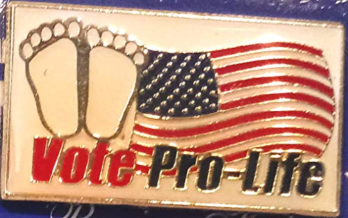 - Vote Pro-Life Pin, Pro Life Lapel Pin with Flag and Unborn Child, Precious Feet Vote Pro-Life Card with Lapel Pin 1