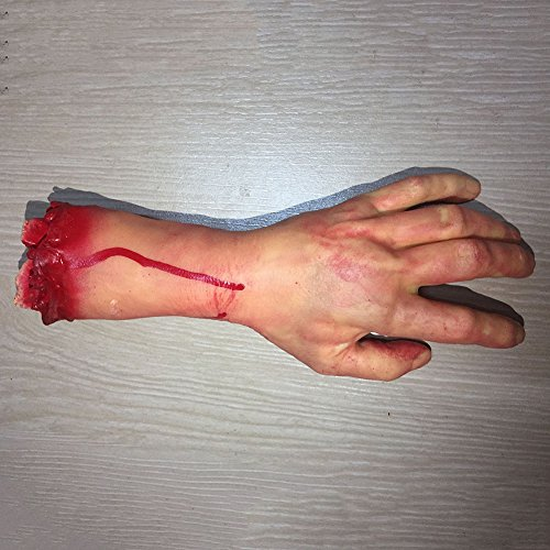 Shiningup Halloween Scary Cut Off Bloody Fake Latex Arm Hand Foot Heart Brain Finger Haunted Party Decoration -
