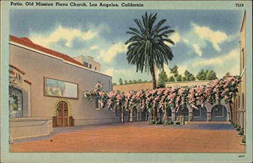 Patio, Old Mission Plaza Church Los Angeles, California Original Vintage Postcard