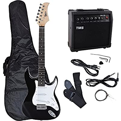 TMS Full Size Electric Guitar w/ 10 Watt Amp Gig Bag Case Guitar Strap for Beginners