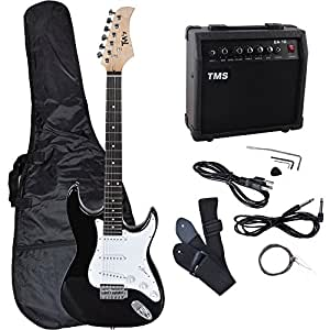 tms full size electric guitar w 10 watt amp gig bag case guitar strap for beginners. Black Bedroom Furniture Sets. Home Design Ideas