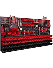 Systeemrek XXL, 172 x 78 cm, wandrek, stapelboxen, gereedschapswand, gereedschapshouder, opbergkast, kunststofdoos, rood, zwart