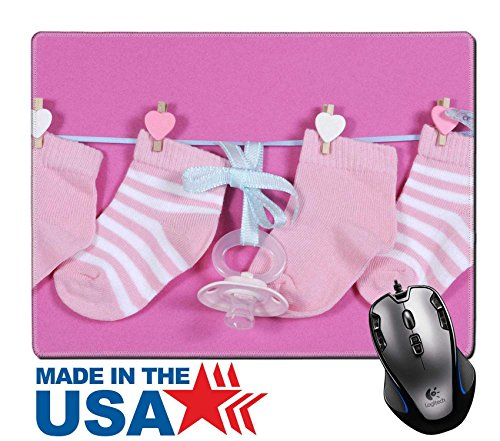 """MSD Natural Rubber Mouse Pad/Mat with Stitched Edges 9.8"""" x 7.9"""" Baby girl nursery socks and dummy pacifier hanging from pegs on a line against a IMAGE 28242892 Stain Resistance Kit Kitchen Table Top - Edge Peg Kit"""