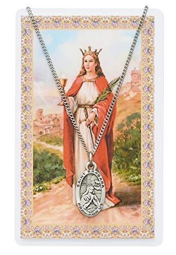 Barbara Medal Pendant - Catholic Saint Medals St. Barbara Pendant and Prayer Card Set, Includes a 18 in. chain and St. Barbara Prayer Card