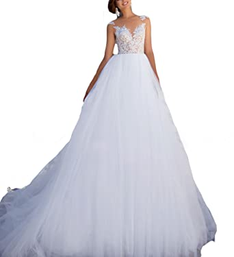 Fishlove 2017 vestidos de novia Illusion Sheer Lace Bridal Wedding Gowns For Women W6 at Amazon Womens Clothing store: