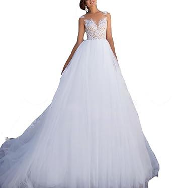 Fishlove 2017 vestidos de novia Illusion Sheer Lace Bridal Wedding Gowns For Women W6