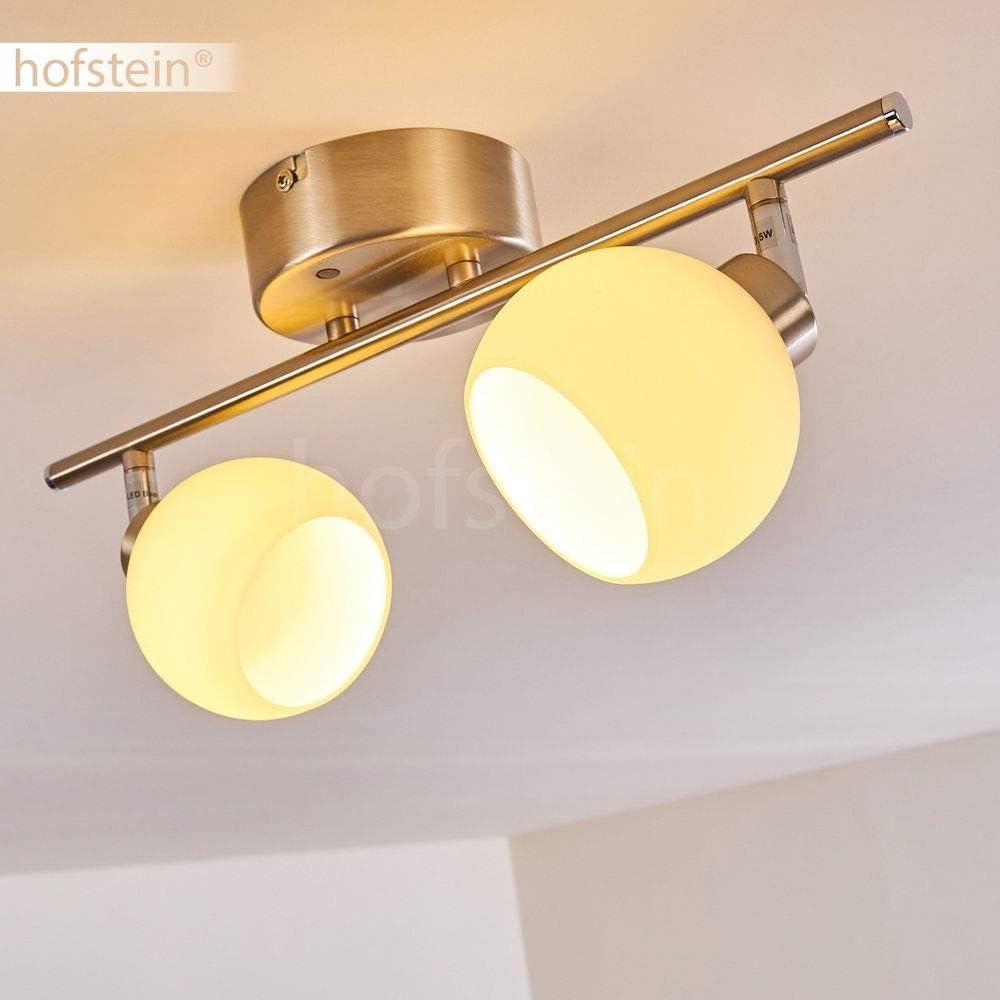 LED Deckenleuchte Ritsem, dimmbare Deckenlampe aus Metall in Nickel-matt, 4-flammig mit verstellbaren Leuchtenköpfen, 4 x 4,3 Watt, 1200 Lumen insgesamt, 3000 Kelvin, mit Farbwechsler u. Fernbedienung Motala 2-flammig