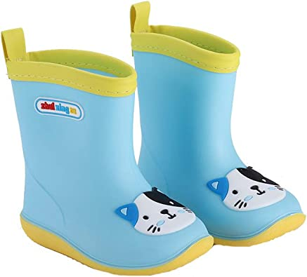 Children Cartoon Rubber Rain Boots with Easy-on Handles Waterproof Boots for Unisex Kids