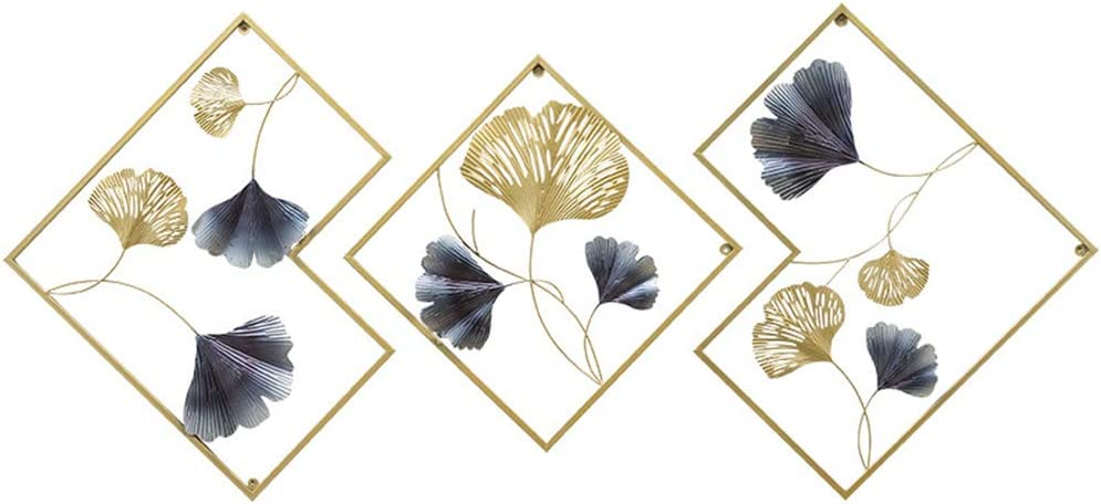 MKUN Iron Wall Sculptures - Set of 3 Diamond shaped Metal Wall Decor with Gingko Biloba Art Great for Home Hotel Decoration(Gold&Gray)