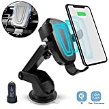Tractex Wireless Car Charger, 10W / 7.5W Qi Fast Charging Gravity Clamping Mount, Dash/Windshield & Air Vent Compatible with iPhone 8/8 Plus & Later Samsung S6 Edge+ & Later (Color: Black)
