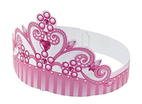 6 CORONE coroncine Principessa ROSA in cartoncino- fasce cappellini festa a  coroncina per bambine - f3db8c1e59e4