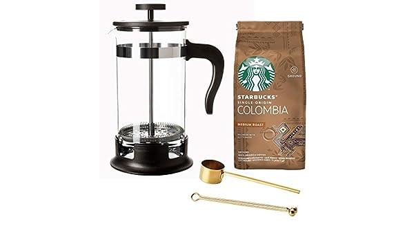 Cafetera francesa de acero inoxidable de 1 litro, con café ...