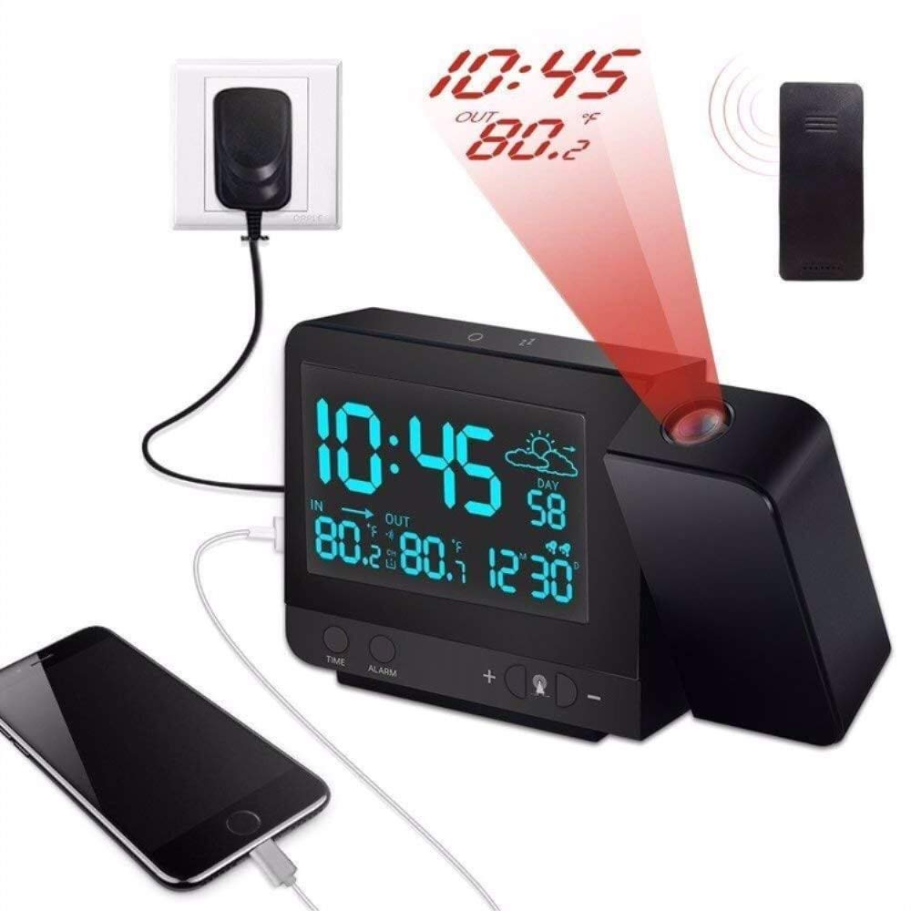 Kensent Projection Alarm Clock, Digital Projection Clock with Weather Station, Indoor/Outdoor Thermometer, USB Charger, Dual Alarm Clocks for Bedrooms, LED Display with Dimmer, 12/24 Hours by Kensent