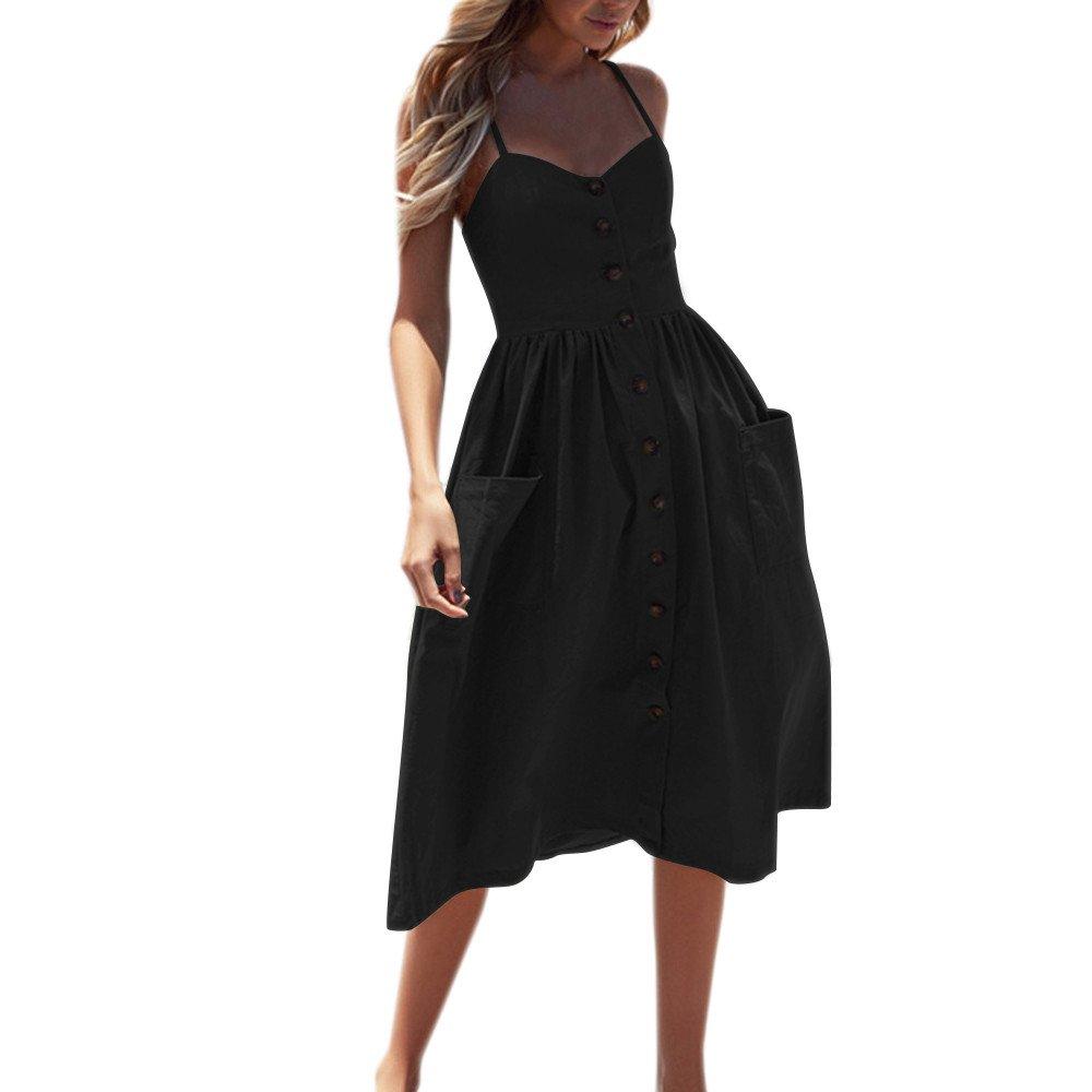 iLUGU V Neck Sleeveless Knee-Length Dress For Women Button Pocket A-Line Girl Dress