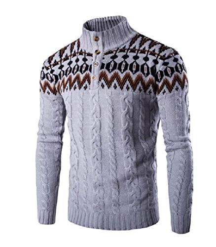 Tootless-Men Mock Neck Cable Stitch Graphic Print Christmas Xmas Sweater Light Grey L ()