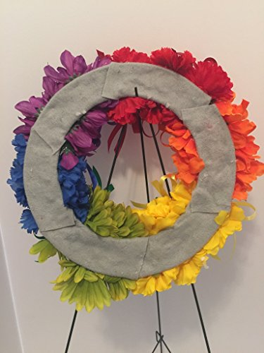 COLLEGE PRIDE - SPIRIT - LGBTQ - STUDENT ORGANIZATIONS - UNIVERSITY DIVERSITY GROUPS - GAY PRIDE - DORM - COLLECTOR WREATH - RAINBOW CARNATIONS, ZINNIAS, AND DAISIES - RAINBOW FLAG by Peters Partners Design (Image #5)