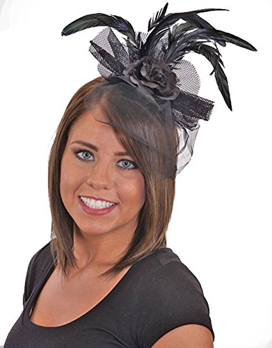 [J24612 (Black) Feather Headband With Black Rose & Lace] (Saloon Girl Adult Womens Costumes)