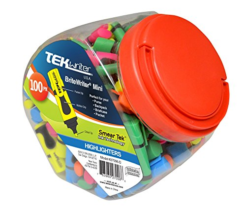 TekwriterUSA Britewriter Mini Highlighter Tub, Assorted Colors, 100-Count (27006-D) ()