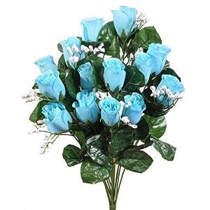 Beautiful 14 Long Stem Aqua Spa Blue Roses Buds Silk Wedding Flowers Bouquets Centerpieces 40