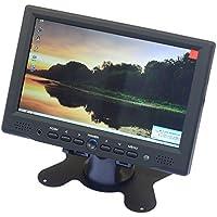 AIHOME 7 Inch TFT LCD Digital Display 2 Video Input Rear View Headrest Car/PC VCR Monitor HDMI/VGA/AV Input (Black)