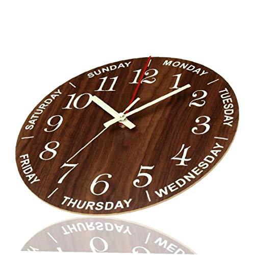 Décoration du Foyer Lumineux Horloge Murale en Bois Lumière Silencieuse À Wall Dark Night Clock Non Coutil Horloge avec…